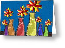 Flowers In Glass Vases Greeting Card