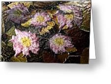 Flowers In Pool Of Autumn Leaves Greeting Card
