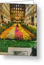 Flowers In Rockefeller Plaza Greeting Card