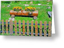Flowers In Wooden Pot Greeting Card