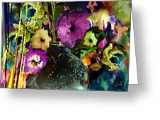 Flowers Night Party Greeting Card