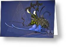 Flowers On Skis Greeting Card