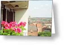 Flowers On The Balcony Greeting Card