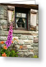 Flowers Stone And Old Country Window Greeting Card