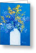 Flowers With Blue Background Greeting Card