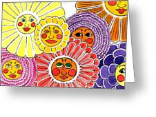 Flowers With Faces Greeting Card