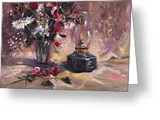 Flowers With Lantern Greeting Card