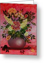 Flowers With Red Background Greeting Card