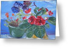 Flowers With The Sky  Greeting Card