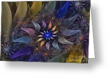 Flowery Fractal Composition With Stardust Greeting Card