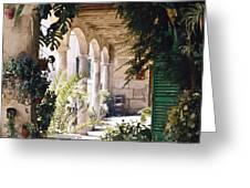 Flowery Majorquin  Patio In Valdemosa Greeting Card