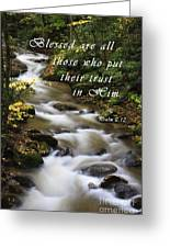 Flowing Creek With Scripture Greeting Card