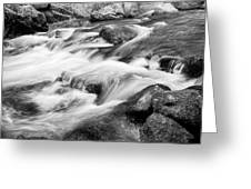 Flowing St Vrain Creek Black And White Greeting Card