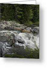Flowing Stream With Waterfall In Vermont Greeting Card