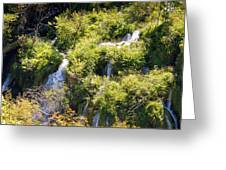 Flowing Water On Falling Lakes Of Plitvice Greeting Card