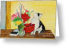 Fluff Smells The Lavender- Painting Greeting Card