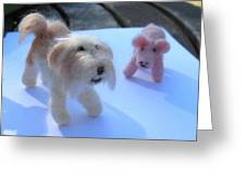 Fluffums - Lhasa Apso Tibetan Terrier And Piglet Greeting Card