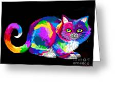 Fluffy Rainbow Cat 2 Greeting Card