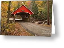 Flume Gorge Covered Bridge Fall Colors Greeting Card