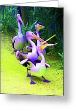 Fluorescent Pelicans Greeting Card