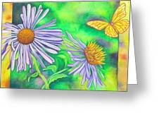 Flutters And Flowers Greeting Card