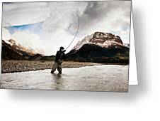 Fly Fishing At The Base Of Fitz Roy Greeting Card