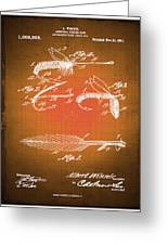 Fly Fishing Bait Patent Blueprint Drawing Sepia Greeting Card