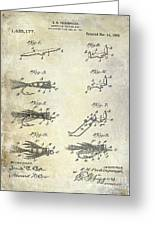 1922 Fly Fishing Lure Patent Drawing Greeting Card