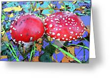 Fly-fungus With Blue Leaves By M.l.d.moerings 2009 Greeting Card