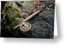Fly Rod And Reel Detail On Mossy Wet Greeting Card