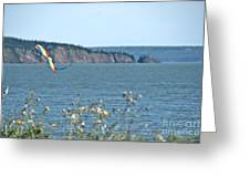 Flying A Kite On The East Coast Greeting Card
