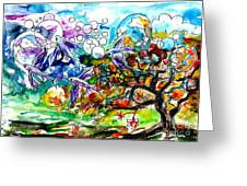 Flying Fish Tree And Bubbles Greeting Card