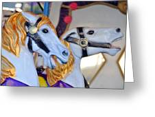 Flying Horses On The Carousel Greeting Card