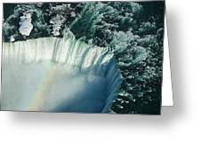 Flying Over Icy Niagara Falls Greeting Card