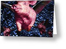 Flying Pigs Over San Francisco - Square Greeting Card