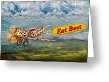 Flying Pigs - Plane - Eat Beef Greeting Card