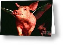 Flying Pigs V3 Greeting Card