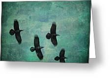Flying Ravens Greeting Card