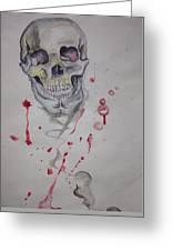 Flying Skull Greeting Card by Erik Franco
