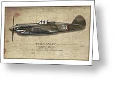 Flying Tiger P-40 Warhawk - Map Background Greeting Card by Craig Tinder