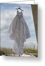 Flying Wedding Dress 4 Greeting Card