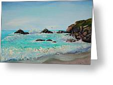 Foamy Ocean Waves And Sandy Shore Greeting Card