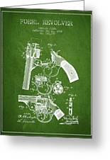 Foehl Revolver Patent Drawing From 1894 - Green Greeting Card