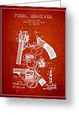 Foehl Revolver Patent Drawing From 1894 - Red Greeting Card