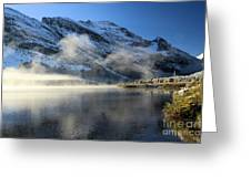 Fog At Swiftcurrent Greeting Card