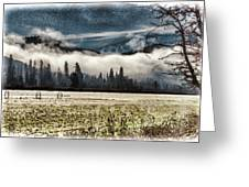 Fog Beyond The Tilled Field  Greeting Card