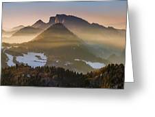 Fog Covered Mountains At Sunset Greeting Card