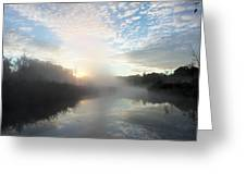 Fog Covered River Greeting Card
