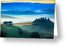 Fog In Tuscan Valley Greeting Card