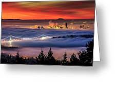 Fog Inversion Over Vancouver Greeting Card